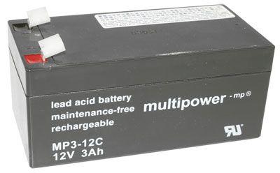 Multipower MP3-12C Bleiakku Zyklenfest, 12V 3Ah Fa