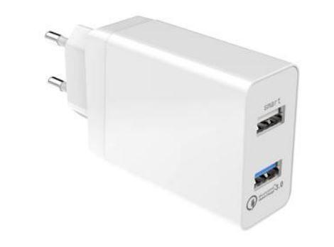 Qualcomm QC3.0 2 Port USB Schnellladegerät 2.4A Weiss