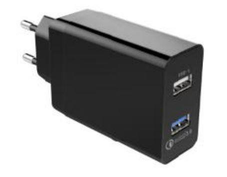 Qualcomm QC3.0 2 Port USB Schnellladegerät 2.4A Schwarz
