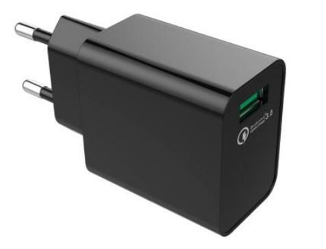 Qualcomm QC3.0 1 Port USB Schnellladegerät 18W Schwarz