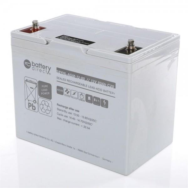 Battery-Direct SBYHL-AGM-12-80 12V 80Ah Blei-Akku
