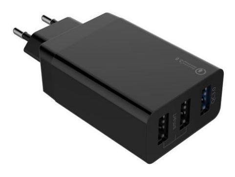 Qualcomm QC3.0 3 Port USB Schnellladegerät 30W Schwarz